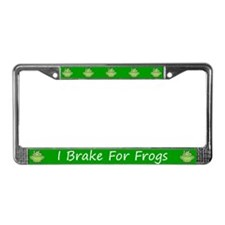 Green I Brake For Frogs License Plate Frame