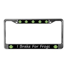 Black I Brake For Frogs License Plate Frame