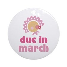 Pink Baby March Due Date Ornament (Round)