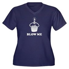 Blow Me Cupcake Women's Plus Size V-Neck Dark T-Sh