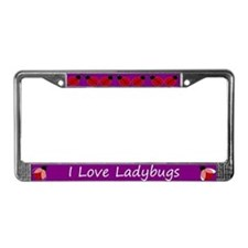 Purple I Love Ladybugs License Plate Frame