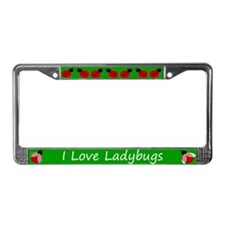 Green I Love Ladybugs License Plate Frame