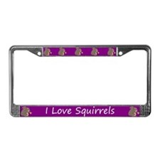 Purple I Love Squirrels License Plate Frame