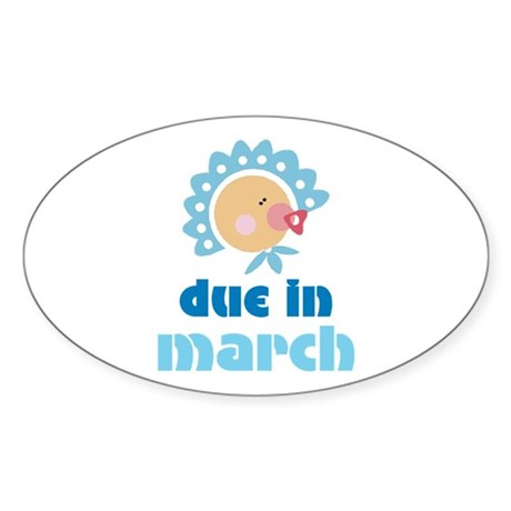 Boy Baby Due In March Oval Sticker