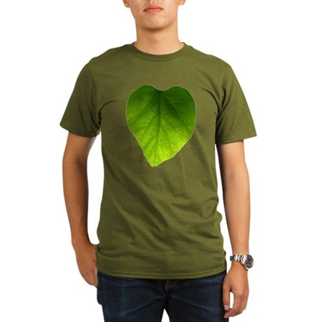 Green Heart Leaf Organic Men's T-Shirt (dark)