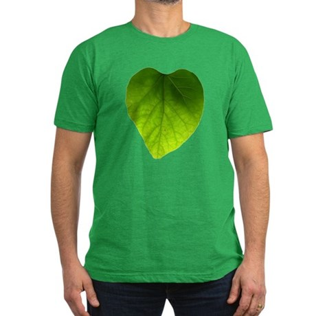 Green Heart Leaf Men's Fitted T-Shirt (dark)