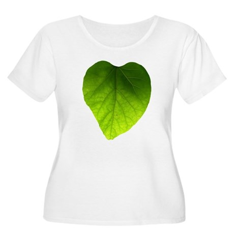Green Heart Leaf Women's Plus Size Scoop Neck T-Sh