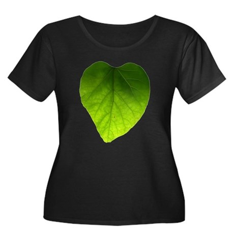 Green Heart Leaf Women's Plus Size Scoop Neck Dark
