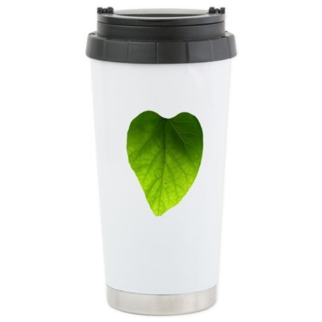 Green Heart Leaf Ceramic Travel Mug