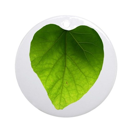 Green Heart Leaf Ornament (Round)