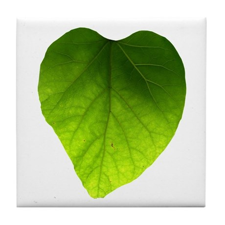 Green Heart Leaf Tile Coaster