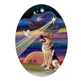 Christmas Star German Shepherd Oval Ornament