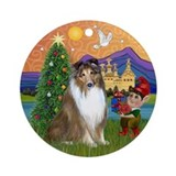 Shetland Sheepdog Xmas Fantasy Ornament (Round)
