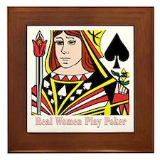 Real Women Play Poker Framed Tile