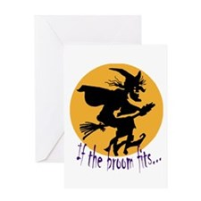 """If the broom fits"" flying wi Greeting Card"
