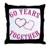 60th Anniversary Two Hearts Throw Pillow