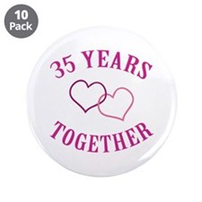 "35th Anniversary Two Hearts 3.5"" Button (10 pack)"