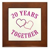 20th Anniversary Two Hearts Framed Tile