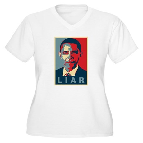 Obama Is A Liar Plus Size V-Neck Shirt