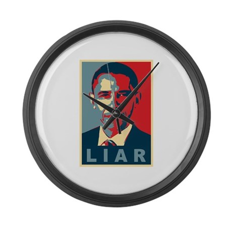 Obama Is A Liar Large Wall Clock