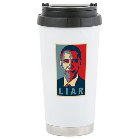 Obama Is A Liar Ceramic Travel Mug