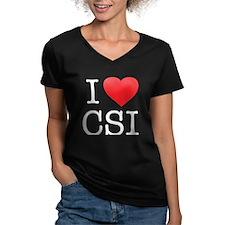 I Heart CSI Women's V-Neck Dark T-Shirt