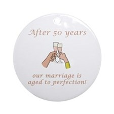 50th Anniversary Wine glasses Ornament (Round)