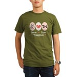 Peace Love Tri Organic Men's T-Shirt (dark)