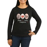 Peace Love Tri Women's Long Sleeve Dark T-Shirt