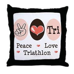 Peace Love Tri Throw Pillow