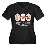 Peace Love Tri Women's Plus Size V-Neck Dark T-Shi