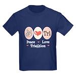 Peace Love Tri Kids Dark T-Shirt