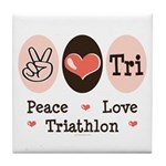 Peace Love Tri Tile Coaster