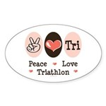Peace Love Tri Oval Sticker (10 pk)
