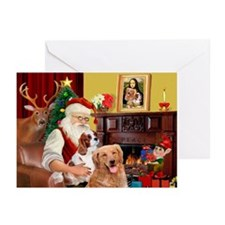 Santas Golden/Cavalier Greeting Cards (Pk of 20)