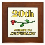 20th Rose Framed Tile