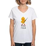 Flute Chick Women's V-Neck T-Shirt