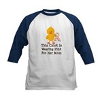 Pink Ribbon Chick For Mom Kids Baseball Jersey