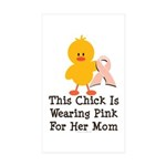 Pink Ribbon Chick For Mom Rectangle Sticker 10 pk