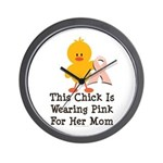 Pink Ribbon Chick For Mom Wall Clock