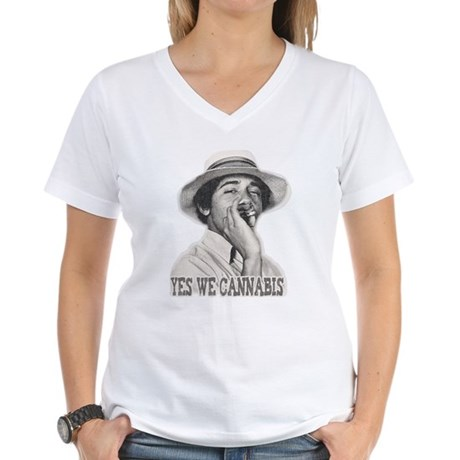 Yes We Cannabis Womens V-Neck T-Shirt
