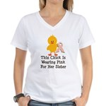 Pink Ribbon Chick For Sister Women's V-Neck T-Shir
