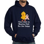 Pink Ribbon Chick For Sister Hoodie (dark)