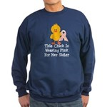 Pink Ribbon Chick For Sister Sweatshirt (dark)
