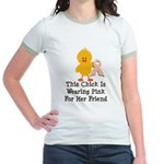 Pink Ribbon Chick For Friend Jr. Ringer T-Shirt