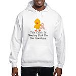 Pink Ribbon Chick For Grandma Hooded Sweatshirt