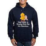 Pink Ribbon Chick For Grandma Hoodie (dark)