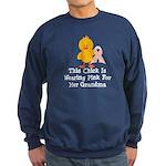 Pink Ribbon Chick For Grandma Sweatshirt (dark)
