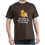 Pink Ribbon Chick For Grandma Dark T-Shirt