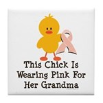 Pink Ribbon Chick For Grandma Tile Coaster